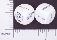 Dice : NON NUMBERED OPAQUE ROUNDED SOLID WHITE BRITISH AIRWAYS 01
