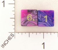 Dice : NUMBERED OPAQUE ROUNDED IRIDESCENT SWIRL CRYSTAL CASTE TOXIC 01