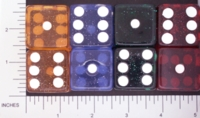 Dice : LG PLASTIC 2 D6 CLEAR ROUNDED SOLID GLITTER 01
