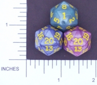 Dice : D20 OPAQUE ROUNDED IRIDESCENT KOPLOW 01