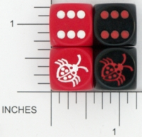 Dice : D6 OPAQUE ROUNDED SOLID CHESSEX CUSTOM 04 FOR JSPASSNTHRU LADYBUG