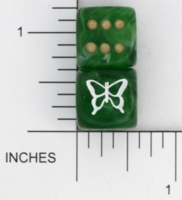 Dice : D6 OPAQUE ROUNDED SWIRL CHESSEX CUSTOM 09 FOR JSPASSNTHRU BUTTERFLY