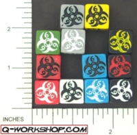 Dice : NUMBERED OPAQUE ROUNDED SOLID Q WORKSHOP BIOHAZARD 01