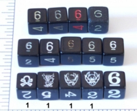 Dice : NUMBERED OPAQUE SHARP SOLID 4 BLACK