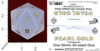 Dice : D20 TRANSLUCENT ROUNDED SOLID KOPLOW PEARL GOLD