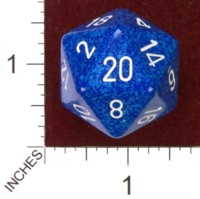 Dice : D20 OPAQUE ROUNDED SPECKLED CHESSEX WATER JUMBO 01