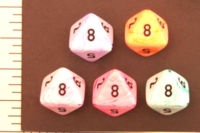 Dice : D8 OPAQUE ROUNDED SWIRL CRYSTAL CASTE ICECREAM