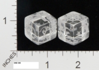 Dice : NON NUMBERED CLEAR ROUNDED SOLID BULLFROG LASERWORKS FOR JENNEFER ASPERHEIM RELIGION 01