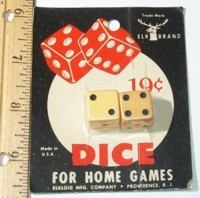 Dice : DUPS03 ELK IVORY 2 FIVE EIGHTHS 19 CENT