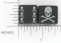 Dice : D6 OPAQUE ROUNDED SOLID BLACK UNKNOWN SKULL AND CROSSBONES 02
