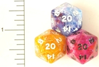 Dice : D20 OPAQUE ROUNDED SWIRL 1