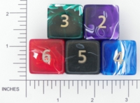 Dice : NUMBERED OPAQUE ROUNDED SWIRL CRYSTAL CASTE JUMBO SILK 01