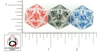 Dice : D20 CLEAR ROUNDED SOLID Q WORKSHOP ELVEN II 01