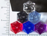 Dice : D20 TRANSLUCENT SHARP SOLID FROSTED CHESSEX RAW