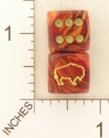 Dice : D6 OPAQUE ROUNDED SWIRL CHESSEX CUSTOM 42 FOR JSPASSNTHRU AMERICAN BISON BUFFALO
