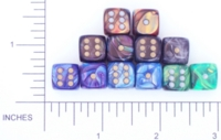 Dice : D6 OPAQUE ROUNDED IRIDESCENT CHESSEX LUSTROUS 02