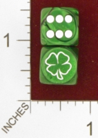 Dice : MINT25 CHESSEX CUSTOM FOR JSPASSNTHRU SHAMROCK 4 LEAF CLOVER 01
