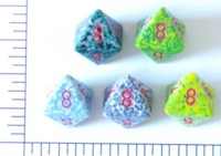 Dice : D8 OPAQUE ROUNDED SPECKLED WITH RED 1