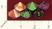 Dice : D10 OPAQUE ROUNDED IRIDESCENT SWIRL CHESSEX 2009 GEMINI 01