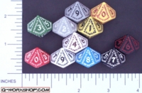 Dice : D10 OPAQUE ROUNDED SOLID Q WORKSHOP RUNIC II 01