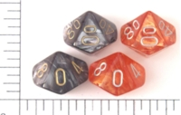 Dice : D10 TRANSLUCENT ROUNDED SWIRL CHESSEX LEAF 1