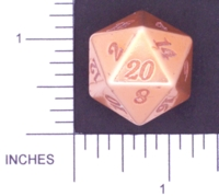 Dice : METAL ALUMINUM D20 01 CAVE BADGER 05 GOLD ETCHED
