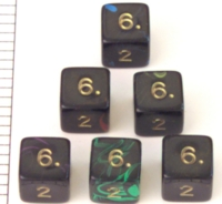 Dice : NUMBERED OPAQUE ROUNDED SWIRL CC OBLIVION STD POLY
