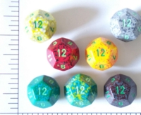 Dice : D12 OPAQUE ROUNDED SPECKLED WITH GREEN 1