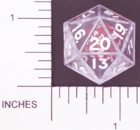 Dice : D20 CLEAR SHARP SOLID KOPLOW DOUBLE DICE 1