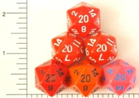 Dice : D20 OPAQUE ROUNDED SOLID RED 01