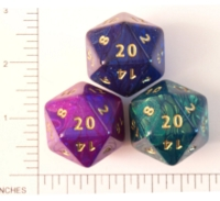 Dice : D20 OPAQUE ROUNDED IRIDESCENT CC OTHERWORLDS JUMBO 1