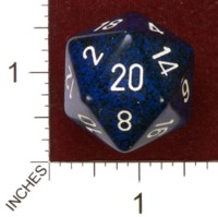 Dice : D20 OPAQUE ROUNDED SPECKLED CHESSEX STEALTH JUMBO 01