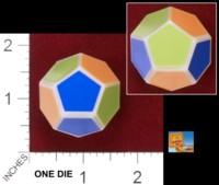 Dice : D12 OPAQUE SHARP SOLID UNIVERSITY GAMES SMART ASS COLORS 01