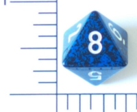 Dice : D8 OPAQUE ROUNDED SPECKLED WITH WHITE 2