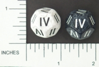 Dice : D12 OPAQUE ROUNDED SPECKLED CHESSEX ROMAN NUMBERAL 01