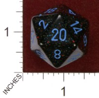 Dice : D20 OPAQUE ROUNDED SPECKLED CHESSEX BLUE STARS JUMBO 01