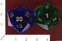 Dice : D20 CLEAR ROUNDED SOLID KOPLOW JUMBO 02