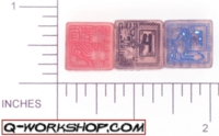 Dice : NUMBERED CLEAR ROUNDED SOLID Q WORKSHOP CHIP 01