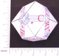 PAPER D12 MY DESIGN RHOMBIC DODECAHEDRON MUSIC NOTES
