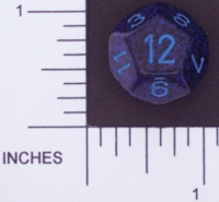 Dice : D12 OPAQUE ROUNDED SPECKLED WITH BLUE 4