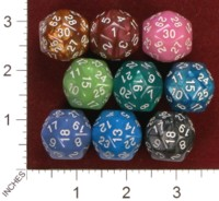Dice : D30 OPAQUE ROUNDED IRIDESCENT UNKNOWN TAIWANESE 01