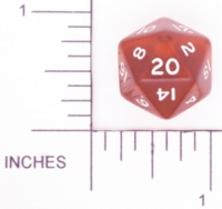 Dice : D20 CLEAR ROUNDED SOLID BROWN 01