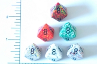 Dice : D8 OPAQUE ROUNDED SPECKLED WITH BLACK 1
