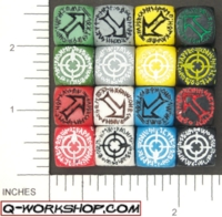 Dice : NON NUMBERED OPAQUE ROUND SOLID Q WORKSHOP RUNIC SCATTER 01