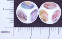 Dice : NON NUMBERED OPAQUE ROUNDED SOLID WHITE CURRENCY BELGIUM 01