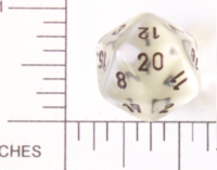 Dice : D20 CLEAR ROUNDED SOLID 2