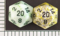 Dice : D20 OPAQUE ROUNDED SPECKLED WITH BLACK 1