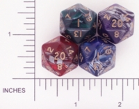 Dice : D20 OPAQUE ROUNDED SWIRL CRYSTAL CASTE TREASURE CHEST 01