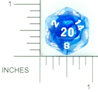 Dice : D20 CLEAR ROUNDED SWIRL CHESSEX NEBULA 03