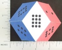 Dice : PAPER D12 MY DESIGN RHOMBIC DODECAHEDRON PIPPED RWB